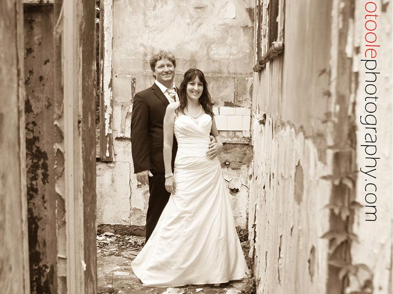 Bridal couple at Kearsney Manor old building